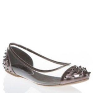 Shoedazzle LOUVETTE pewter spike flat SZ 7.5